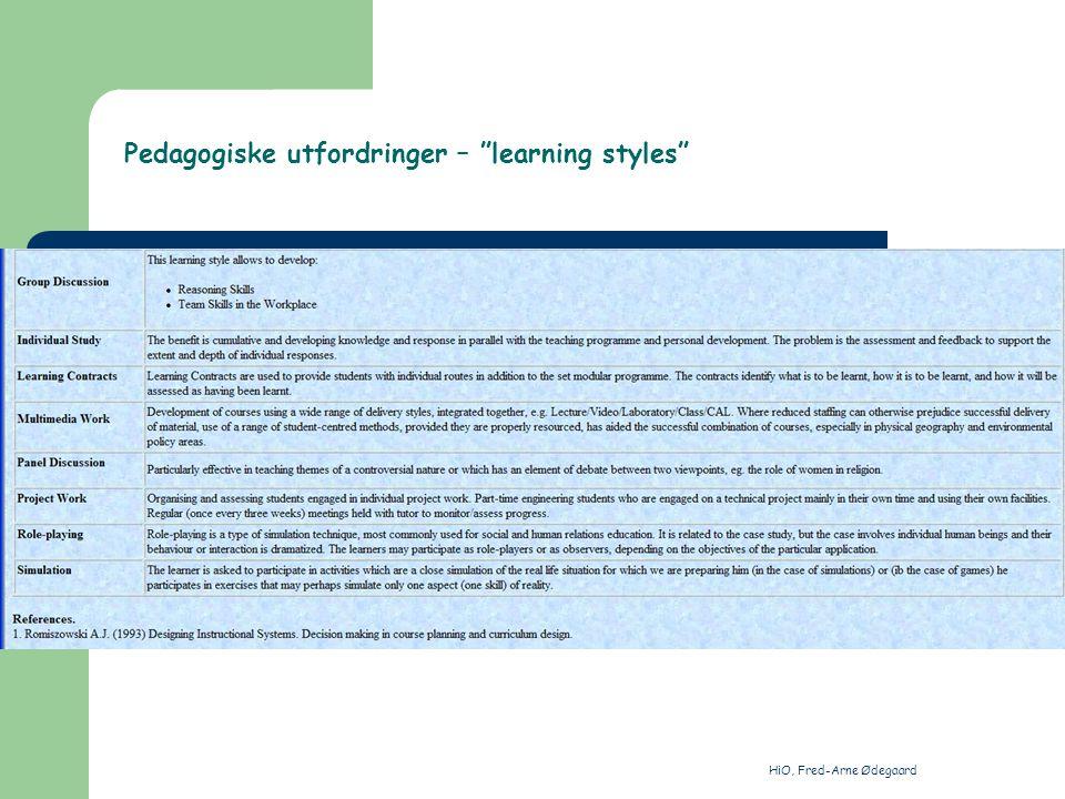 HiO, Fred-Arne Ødegaard Pedagogiske utfordringer – learning styles http://www.pit.ktu.lt/HP/coper/kiev.new/cit/ap_ch3/les31.htm#cat