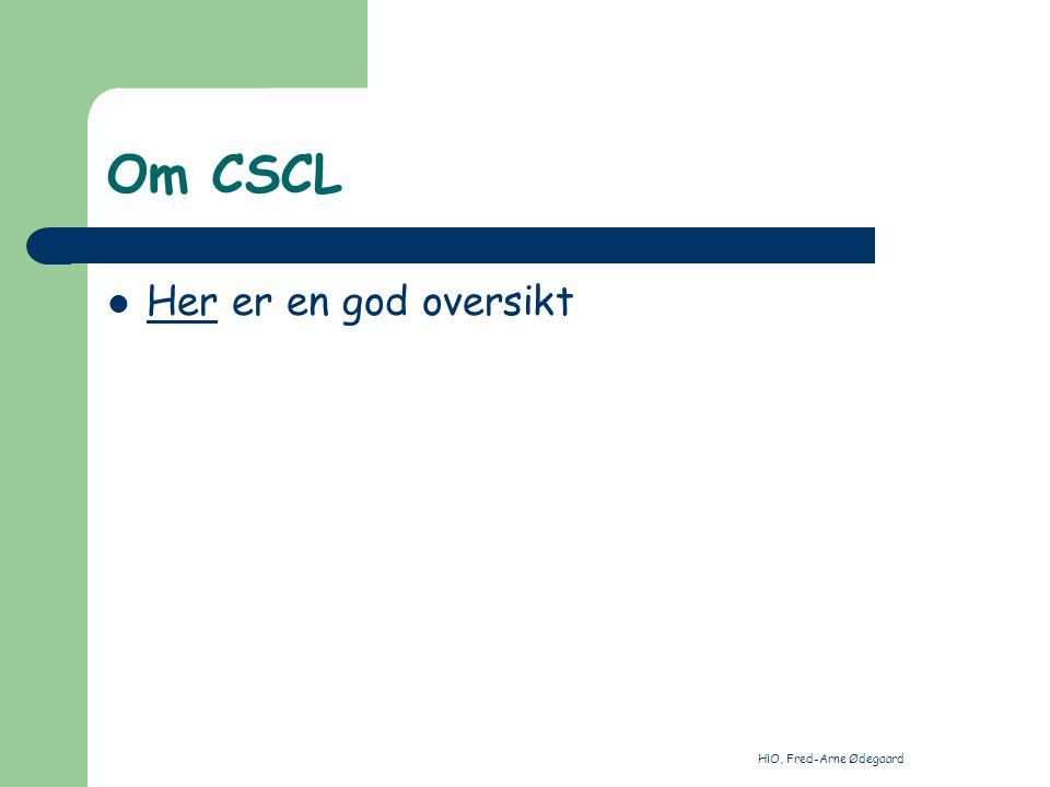 HiO, Fred-Arne Ødegaard Oppgave Definifsjoner av CSCW og CSCL (1/3 s) Netthenvisninger til forståelse av CSCW og CSCL (1/3 s) Egne refleksjoner (1/3 s) Sendes fao@mod.dep.no, med kopi til fre-arn@online.nofao@mod.dep.no fre-arn@online.no Frist 1 uke