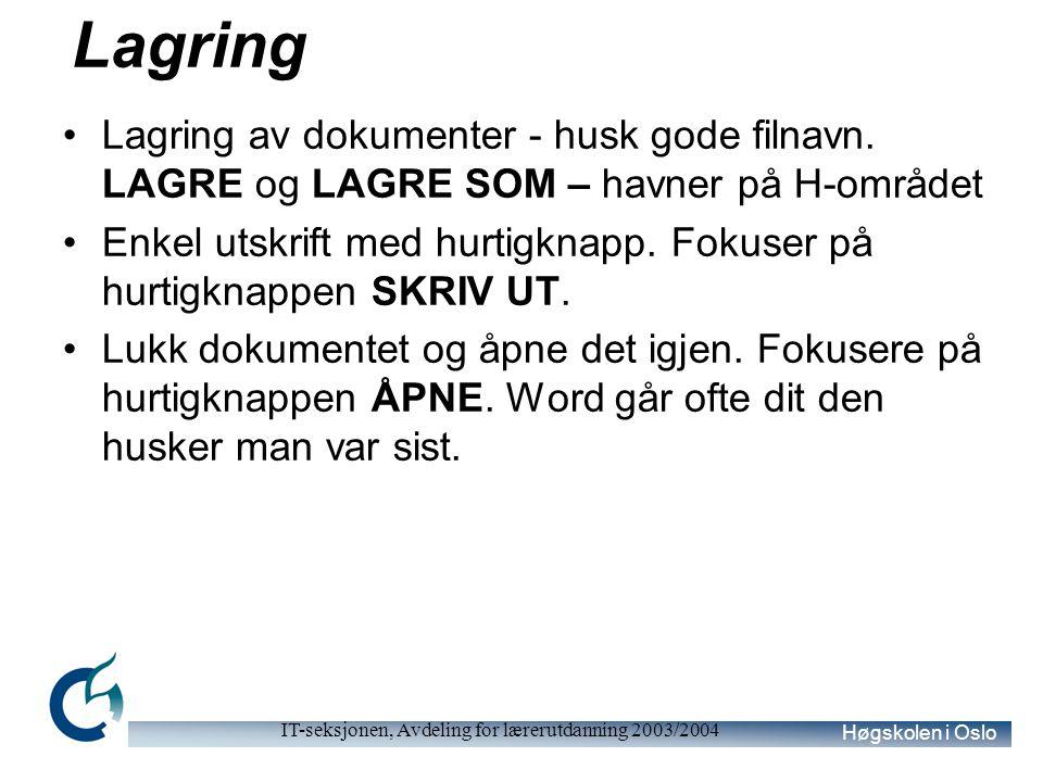 Høgskolen i Oslo IT-seksjonen, Avdeling for lærerutdanning 2003/2004 Lagring Lagring av dokumenter - husk gode filnavn. LAGRE og LAGRE SOM – havner på