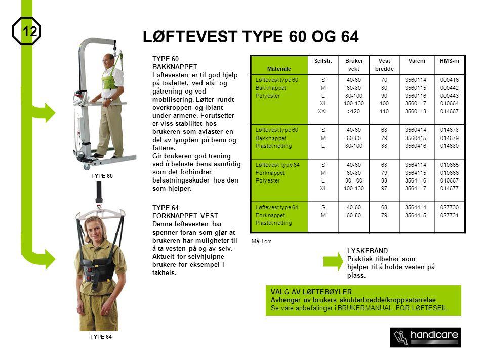 LØFTEVEST TYPE 60 OG 64 Materiale Seilstr.Bruker vekt Vest bredde VarenrHMS-nr Løftevest type 60 Bakknappet Polyester S M L XL XXL 40-60 60-80 80-100