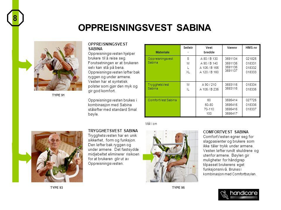 OPPREISNINGSVEST SABINA Materiale Seilstr. Vest bredde VarenrHMS-nr Oppreisningsvest Sabina S M L XL A 80 / B 130 A 90 / B 140 A 105 / B 155 A 120 / B