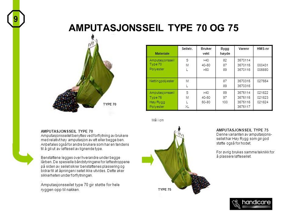 AMPUTASJONSSEIL TYPE 70 OG 75 Materiale Seilstr.Bruker vekt Bygg høyde VarenrHMS-nr Amputasjonsseil Type 70 Polyester SMLSML >40 40-60 >60 82 87 89 35