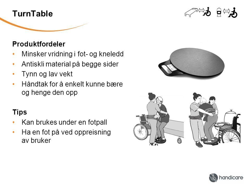 TurnTable Produktfordeler Minsker vridning i fot- og kneledd Antiskli material på begge sider Tynn og lav vekt Håndtak for å enkelt kunne bære og henge den opp Tips Kan brukes under en fotpall Ha en fot på ved oppreisning av bruker