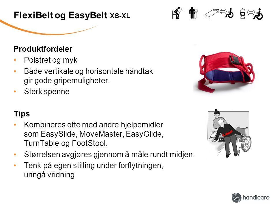 FlexiBelt og EasyBelt XS-XL Produktfordeler Polstret og myk Både vertikale og horisontale håndtak gir gode gripemuligheter. Sterk spenne Tips Kombiner