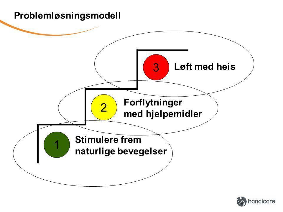 Problemløsningsmodell Stimulere frem naturlige bevegelser Forflytninger med hjelpemidler Løft med heis 1 2 3
