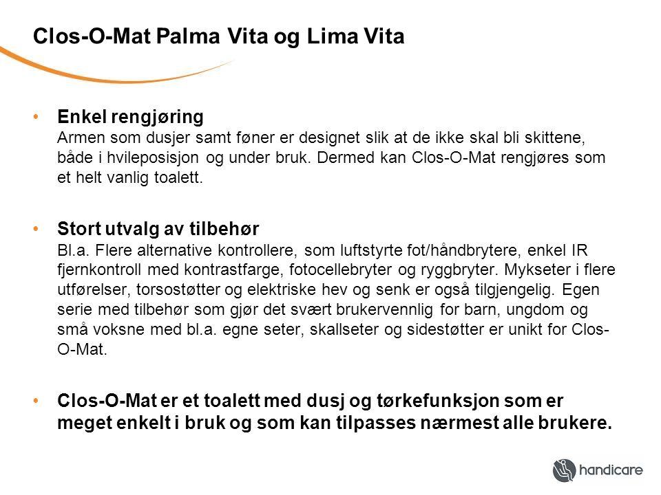 Clos-O-Mat Palma Vita og Lima Vita Enkel rengjøring Armen som dusjer samt føner er designet slik at de ikke skal bli skittene, både i hvileposisjon og under bruk.