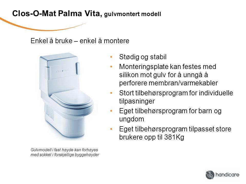 Eksempler på tilbehør til Clos-O-Mat MykseteTCL armstøttePressalit armstøtte IntimseteMyksetering Forhøyningsokkel Luftbryter Fotocellebryter Dusj- og toalettstol Palmalima