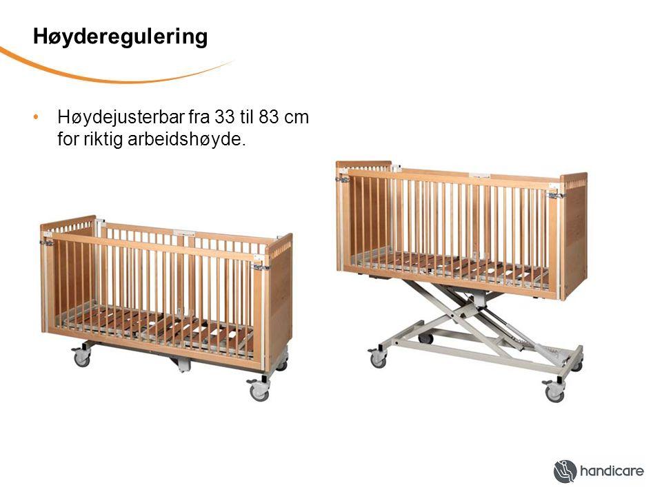 Høyderegulering Høydejusterbar fra 33 til 83 cm for riktig arbeidshøyde.