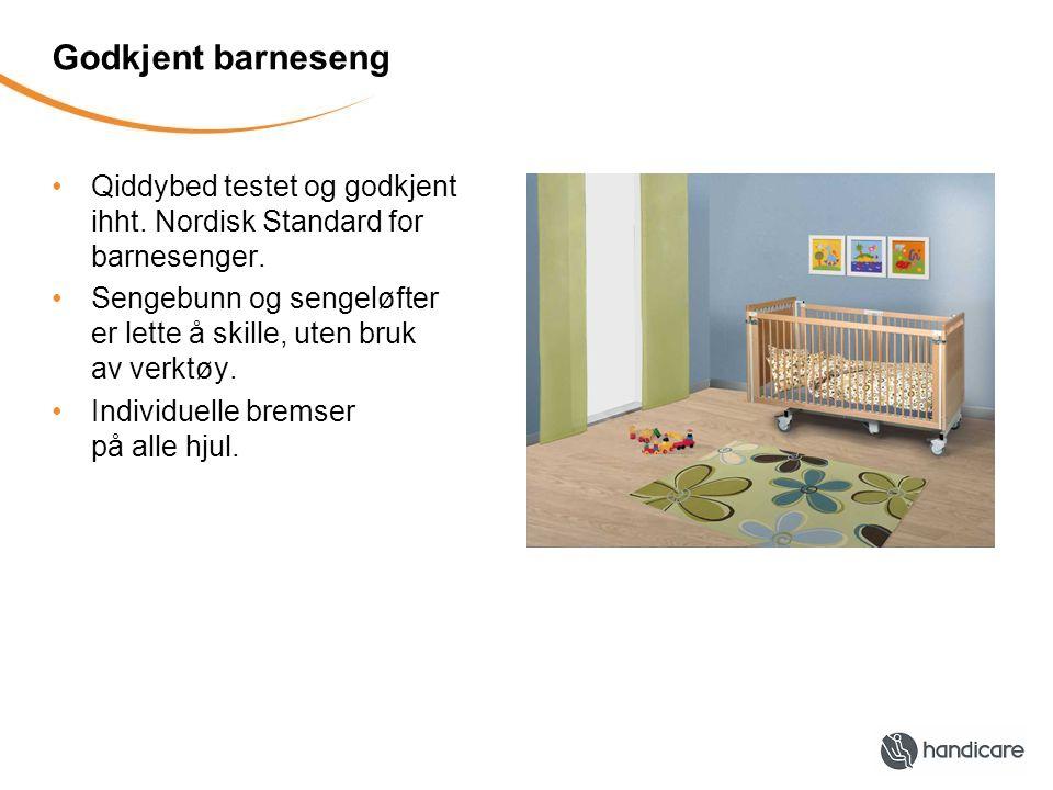 Godkjent barneseng Qiddybed testet og godkjent ihht. Nordisk Standard for barnesenger. Sengebunn og sengeløfter er lette å skille, uten bruk av verktø