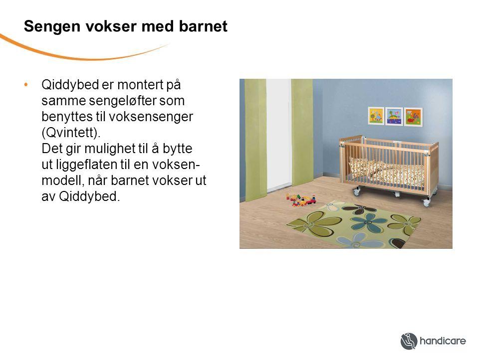 Sengen vokser med barnet Qiddybed er montert på samme sengeløfter som benyttes til voksensenger (Qvintett). Det gir mulighet til å bytte ut liggeflate