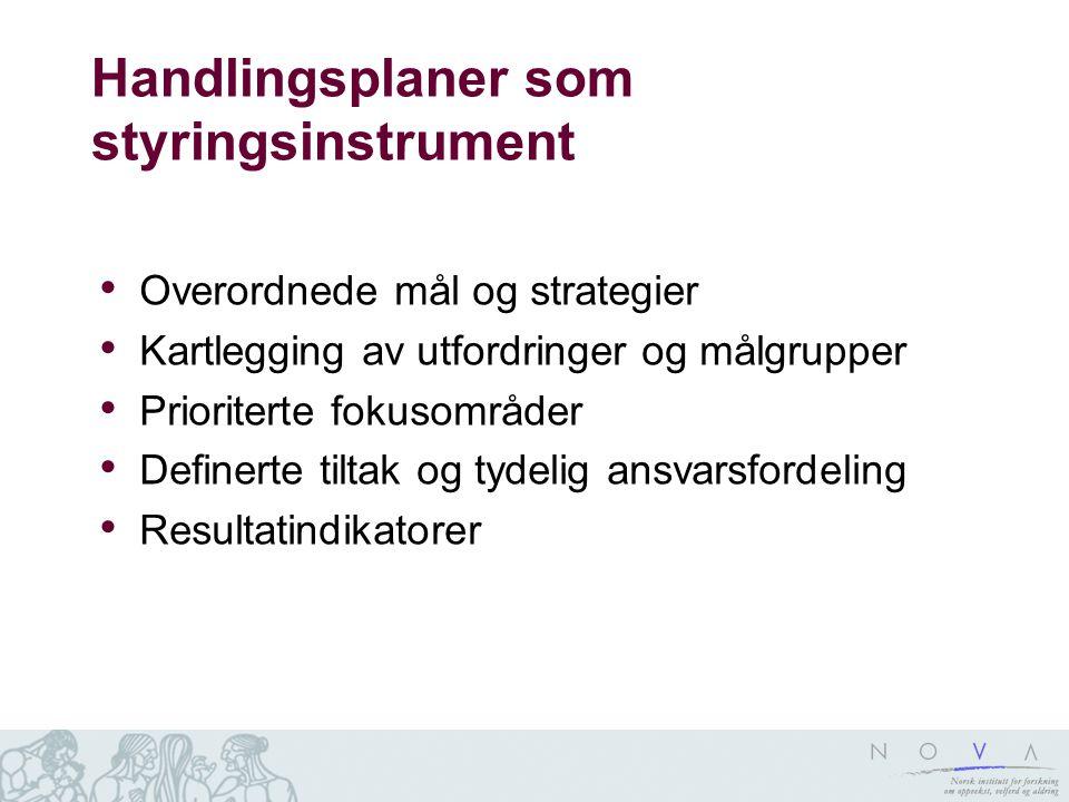 Handlingsplaner som styringsinstrument Overordnede mål og strategier Kartlegging av utfordringer og målgrupper Prioriterte fokusområder Definerte tilt