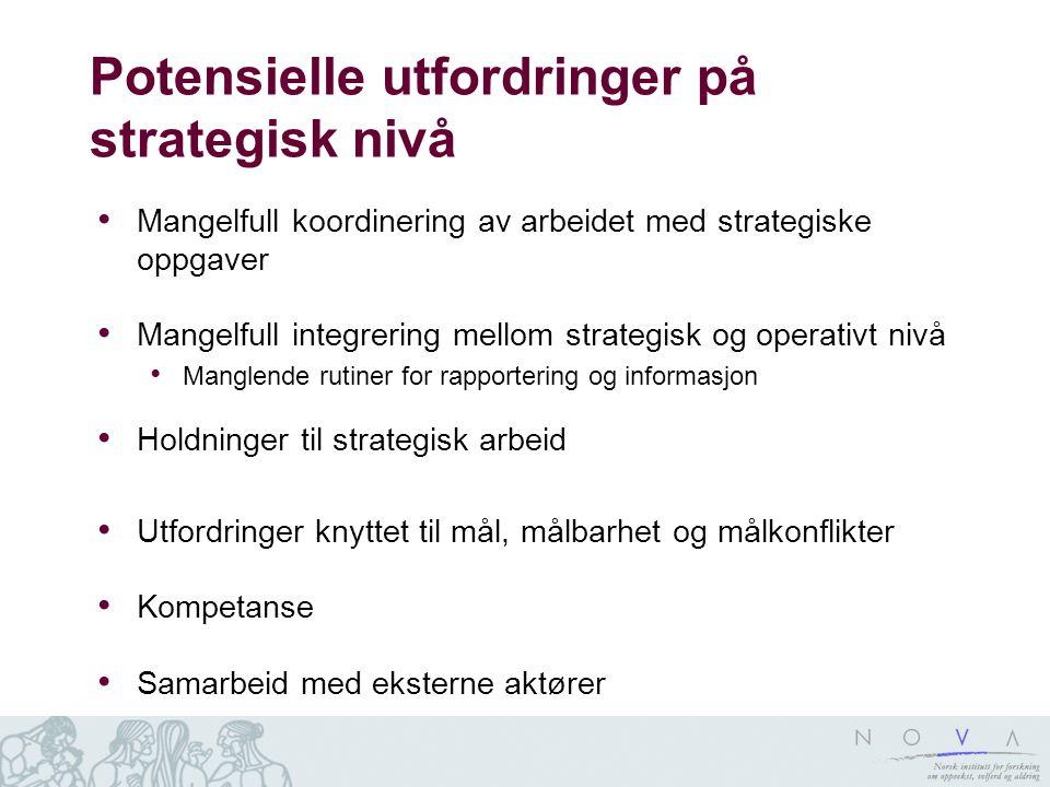 Potensielle utfordringer på strategisk nivå Mangelfull koordinering av arbeidet med strategiske oppgaver Mangelfull integrering mellom strategisk og o