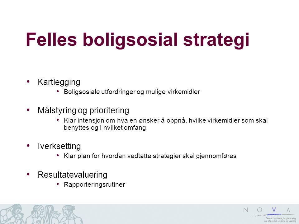 Felles boligsosial strategi Kartlegging Boligsosiale utfordringer og mulige virkemidler Målstyring og prioritering Klar intensjon om hva en ønsker å o