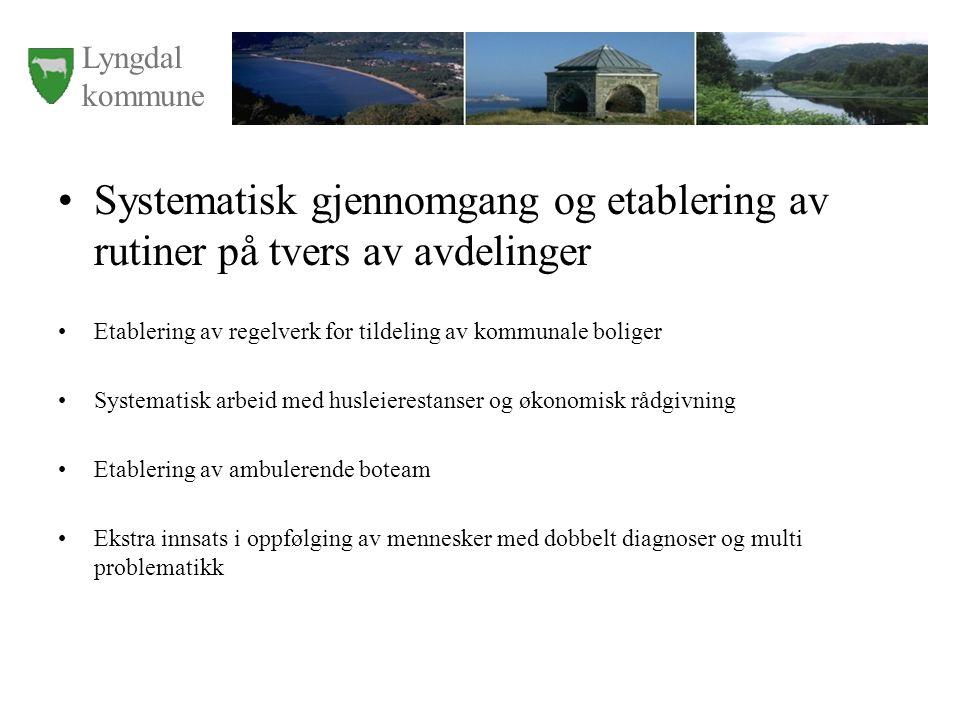 Lyngdal kommune Konkrete planer de neste fem år Tilskudds midler fra Helsedirektoratet til boligsosialt arbeid (3 år) 6 boliger for bostedsløse, Bergsaker, ferdig i 2009.