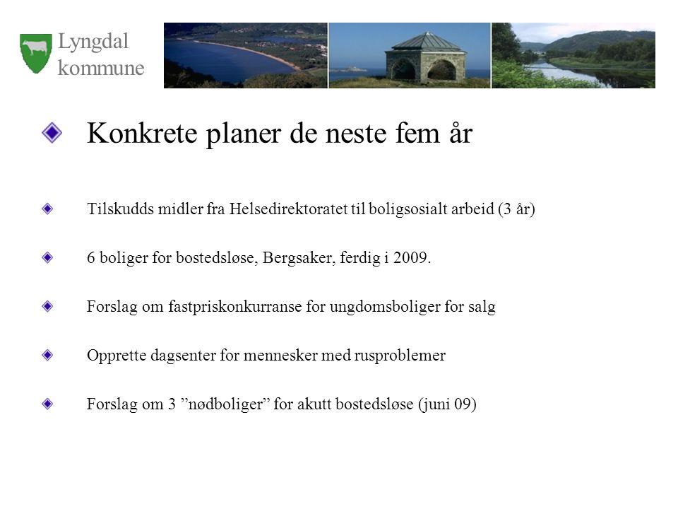 Lyngdal kommune Konkrete planer de neste fem år Tilskudds midler fra Helsedirektoratet til boligsosialt arbeid (3 år) 6 boliger for bostedsløse, Bergs