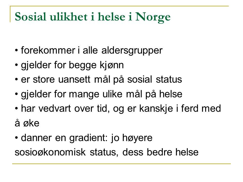 Sosial ulikhet i helse i Norge forekommer i alle aldersgrupper gjelder for begge kjønn er store uansett mål på sosial status gjelder for mange ulike mål på helse har vedvart over tid, og er kanskje i ferd med å øke danner en gradient: jo høyere sosioøkonomisk status, dess bedre helse