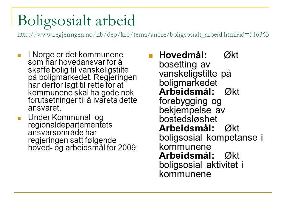 Boligsosialt arbeid http://www.regjeringen.no/nb/dep/krd/tema/andre/boligsosialt_arbeid.html?id=516363 I Norge er det kommunene som har hovedansvar for å skaffe bolig til vanskeligstilte på boligmarkedet.