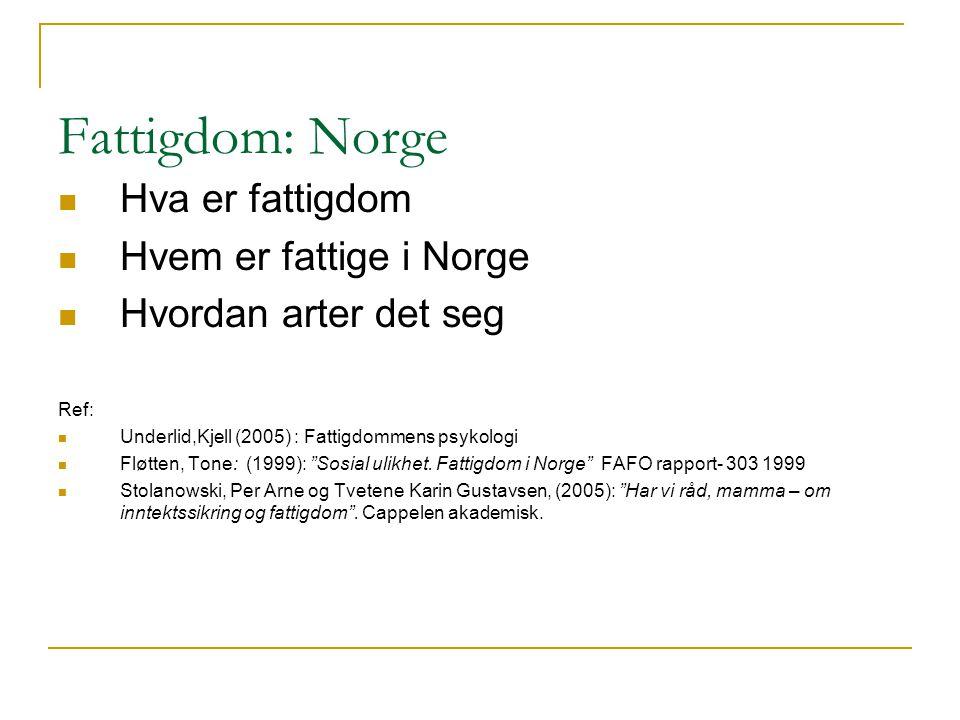 Fattigdom: Norge Hva er fattigdom Hvem er fattige i Norge Hvordan arter det seg Ref: Underlid,Kjell (2005) : Fattigdommens psykologi Fløtten, Tone: (1999): Sosial ulikhet.