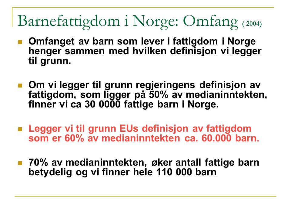 Barnefattigdom i Norge: Omfang ( 2004) Omfanget av barn som lever i fattigdom i Norge henger sammen med hvilken definisjon vi legger til grunn.