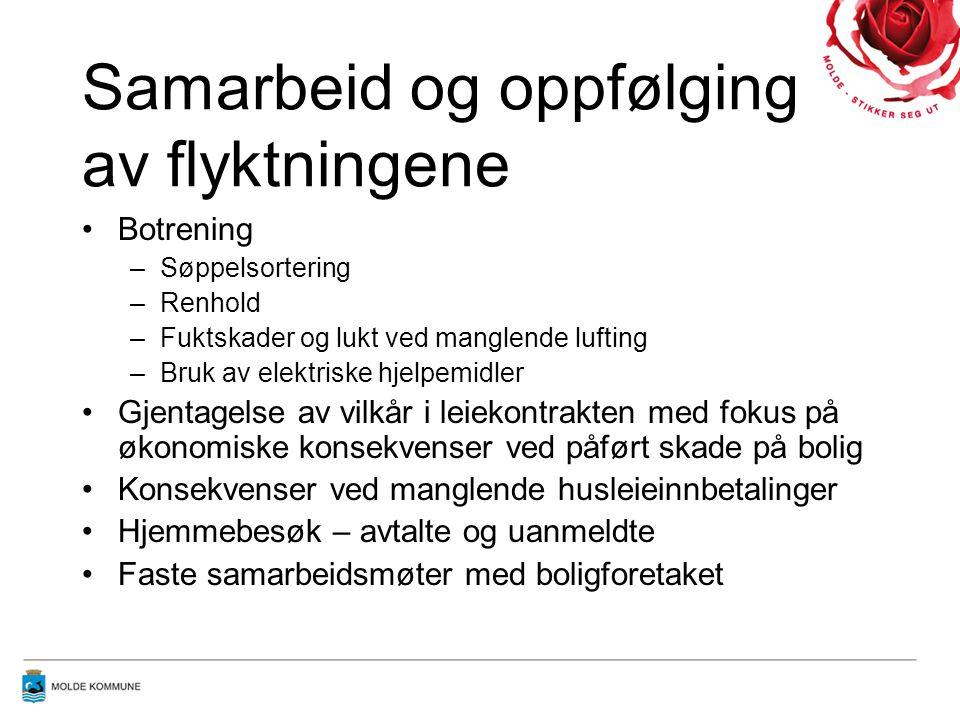 Utfordringer i Molde Språkforståelse Kulturforskjeller Tilstrekkelig bemanning av miljøarbeidere Liten tilgang på egnede boliger Integrering i nærmiljøet
