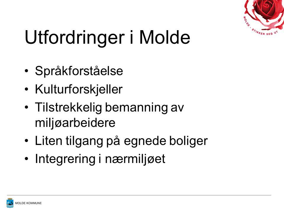Utfordringer i Molde Språkforståelse Kulturforskjeller Tilstrekkelig bemanning av miljøarbeidere Liten tilgang på egnede boliger Integrering i nærmilj