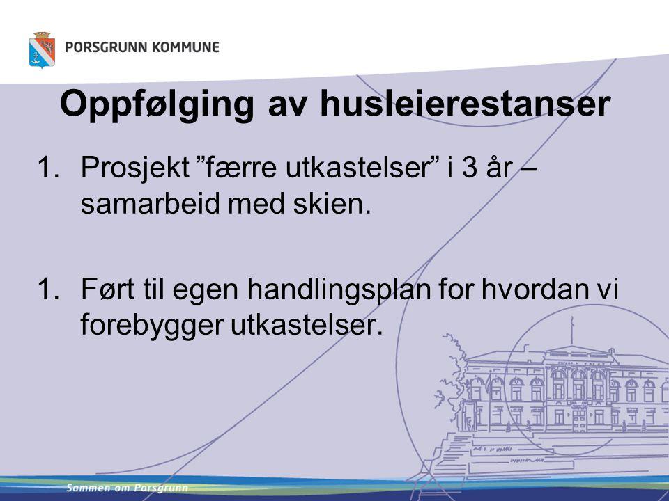 """Oppfølging av husleierestanser 1.Prosjekt """"færre utkastelser"""" i 3 år – samarbeid med skien. 1.Ført til egen handlingsplan for hvordan vi forebygger ut"""