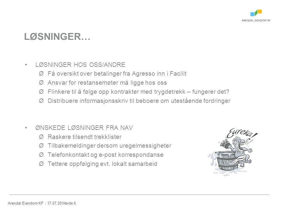 | 17.07.2014Arendal Eiendom KF| side 6 LØSNINGER… LØSNINGER HOS OSS/ANDRE ØFå oversikt over betalinger fra Agresso inn i Facilit ØAnsvar for restansem