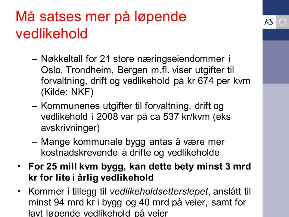 Må satses mer på løpende vedlikehold –Nøkkeltall for 21 store næringseiendommer i Oslo, Trondheim, Bergen m.fl.