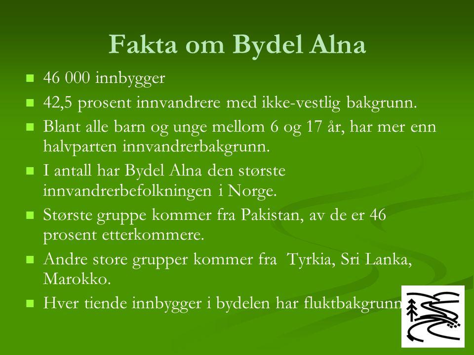 Fakta om Bydel Alna 46 000 innbygger 42,5 prosent innvandrere med ikke-vestlig bakgrunn. Blant alle barn og unge mellom 6 og 17 år, har mer enn halvpa