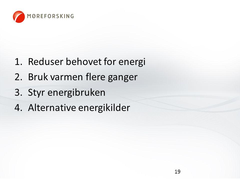 1.Reduser behovet for energi 2.Bruk varmen flere ganger 3.Styr energibruken 4.Alternative energikilder 19
