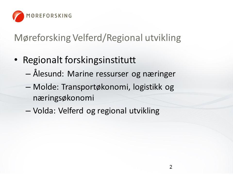 Møreforsking Velferd/Regional utvikling Regionalt forskingsinstitutt – Ålesund: Marine ressurser og næringer – Molde: Transportøkonomi, logistikk og næringsøkonomi – Volda: Velferd og regional utvikling 2