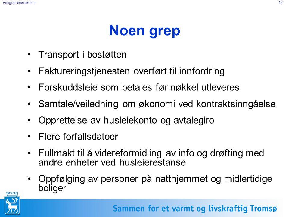Boligkonferansen 2011 12 Noen grep Transport i bostøtten Faktureringstjenesten overført til innfordring Forskuddsleie som betales før nøkkel utleveres