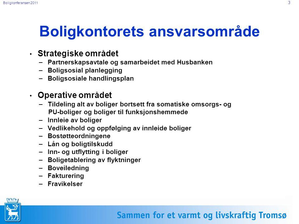 Boligkonferansen 2011 3 Boligkontorets ansvarsområde Strategiske området –Partnerskapsavtale og samarbeidet med Husbanken –Boligsosial planlegging –Bo