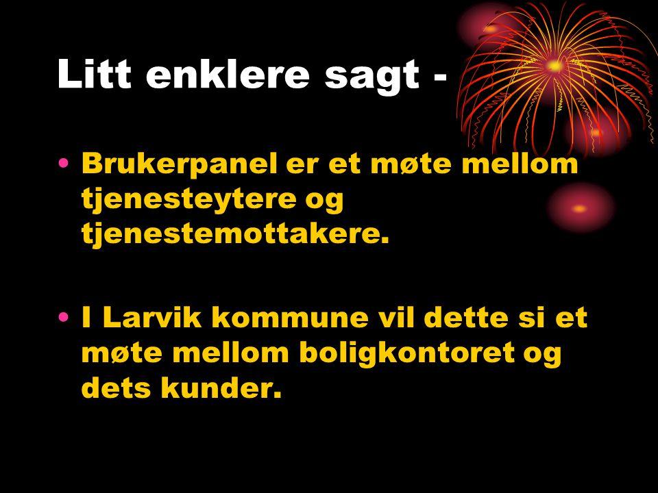 Litt enklere sagt - Brukerpanel er et møte mellom tjenesteytere og tjenestemottakere. I Larvik kommune vil dette si et møte mellom boligkontoret og de