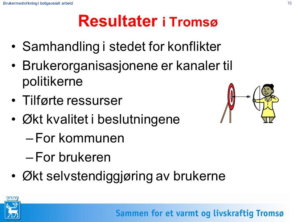 Brukermedvirkning i boligsosialt arbeid 10 Resultater i Tromsø Samhandling i stedet for konflikter Brukerorganisasjonene er kanaler til politikerne Ti