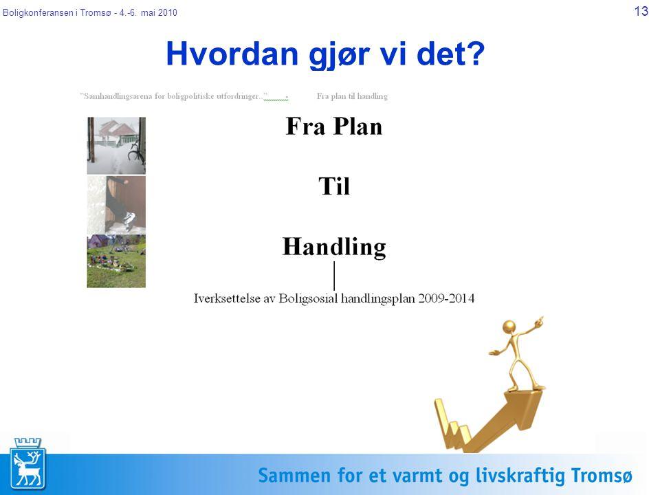 Boligkonferansen i Tromsø - 4.-6. mai 2010 13 Hvordan gjør vi det?