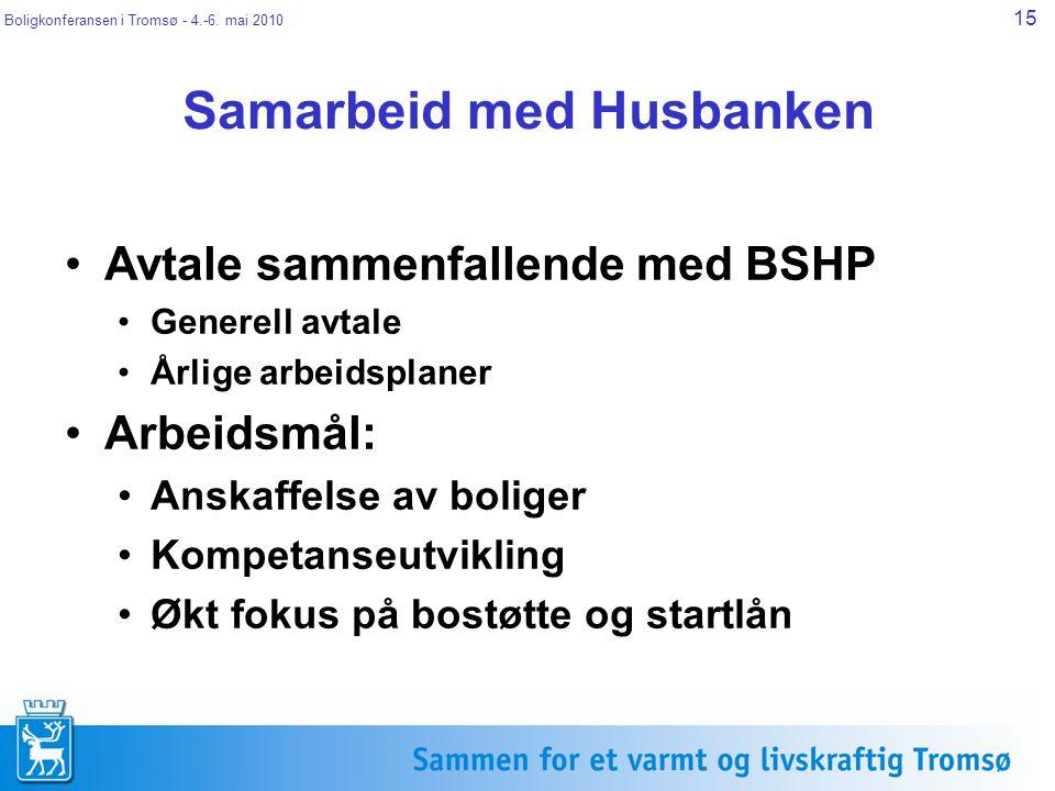 Boligkonferansen i Tromsø - 4.-6. mai 2010 15 Samarbeid med Husbanken Avtale sammenfallende med BSHP Generell avtale Årlige arbeidsplaner Arbeidsmål: