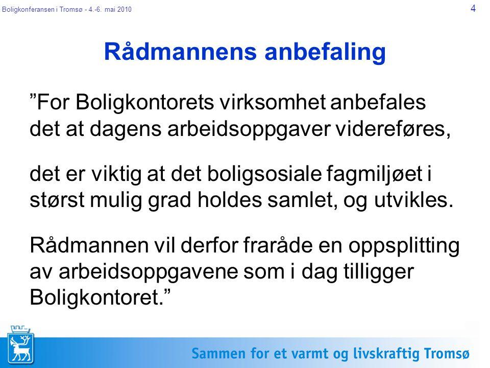 """Boligkonferansen i Tromsø - 4.-6. mai 2010 4 Rådmannens anbefaling """"For Boligkontorets virksomhet anbefales det at dagens arbeidsoppgaver videreføres,"""