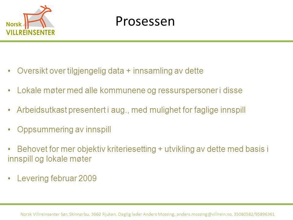 Prosessen Norsk Villreinsenter Sør, Skinnarbu, 3660 Rjukan, Daglig leder Anders Mossing, anders.mossing@villrein.no, 35080582/95896361 Oversikt over t