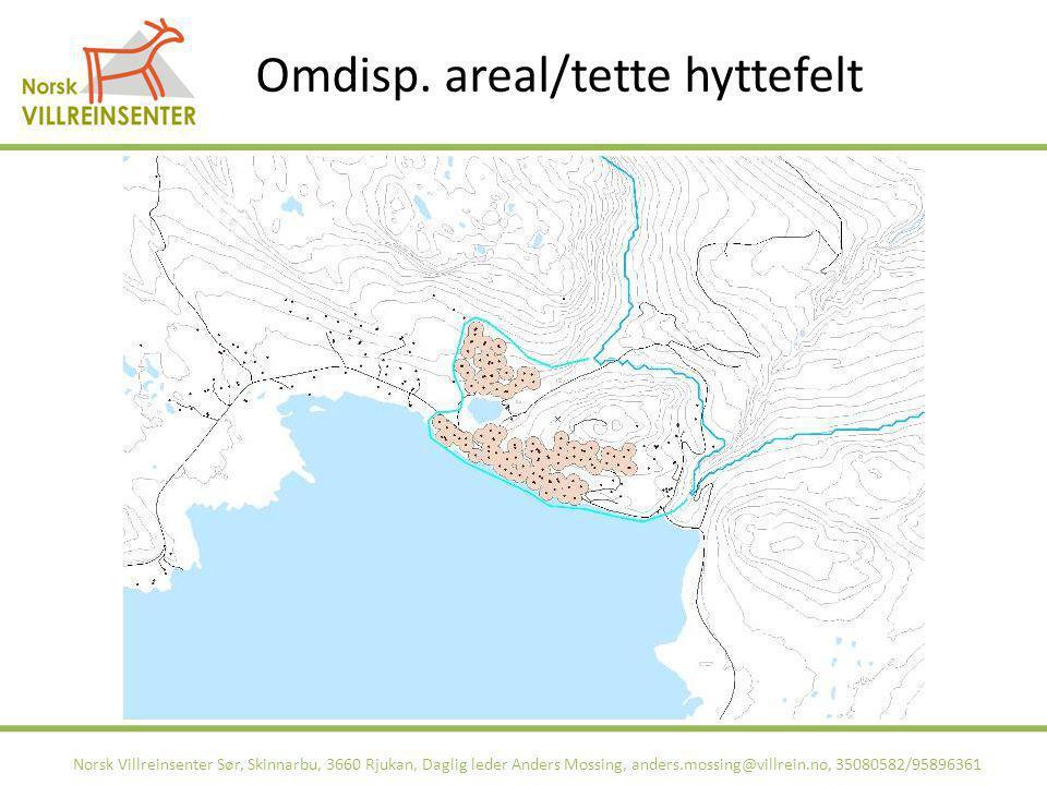 Omdisp. areal/tette hyttefelt Norsk Villreinsenter Sør, Skinnarbu, 3660 Rjukan, Daglig leder Anders Mossing, anders.mossing@villrein.no, 35080582/9589