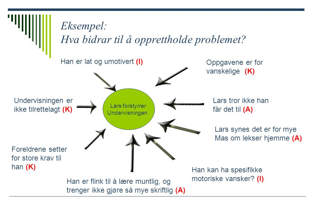 Eksempel: Hva bidrar til å opprettholde problemet.