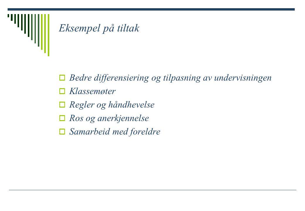 Eksempel på tiltak  Bedre differensiering og tilpasning av undervisningen  Klassemøter  Regler og håndhevelse  Ros og anerkjennelse  Samarbeid med foreldre