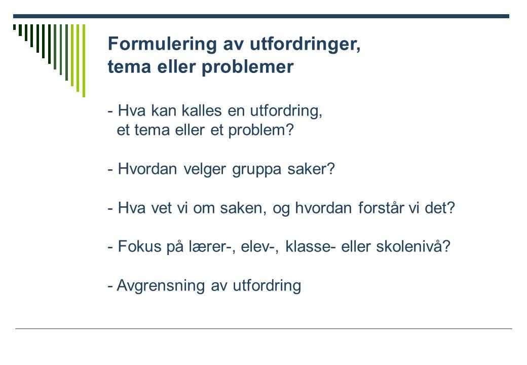 Formulering av utfordringer, tema eller problemer - Hva kan kalles en utfordring, et tema eller et problem.
