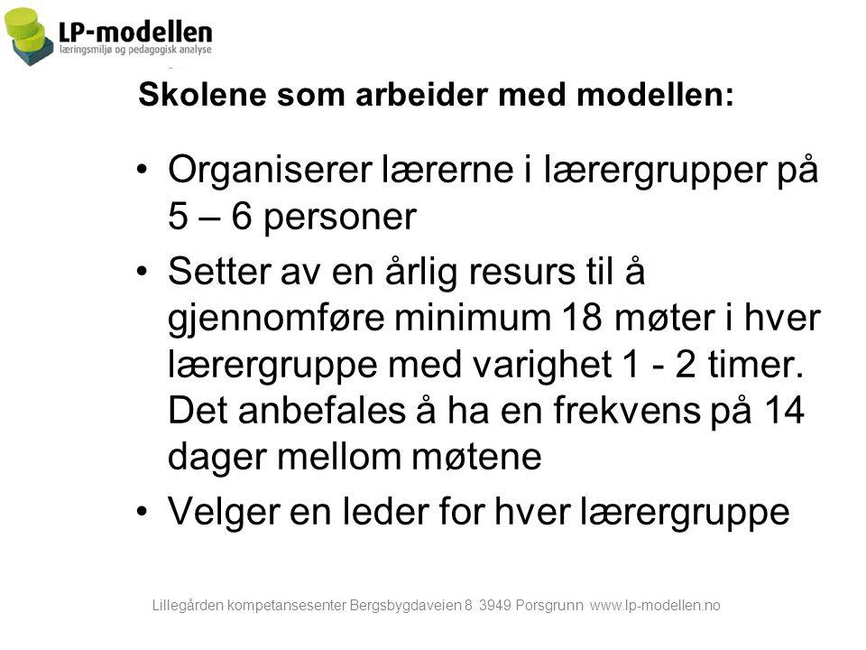 Lillegården kompetansesenter Bergsbygdaveien 8 3949 Porsgrunn www.lp-modellen.no Skolene som arbeider med modellen: Organiserer lærerne i lærergrupper på 5 – 6 personer Setter av en årlig resurs til å gjennomføre minimum 18 møter i hver lærergruppe med varighet 1 - 2 timer.