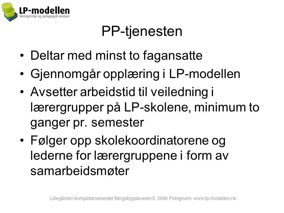 Lillegården kompetansesenter Bergsbygdaveien 8 3949 Porsgrunn www.lp-modellen.no Fokus på fagdagene: Forskningsbasert kunnskap om sammenhenger mellom læringsmiljøet og elevenes læringsutbytte og atferd i skolen.
