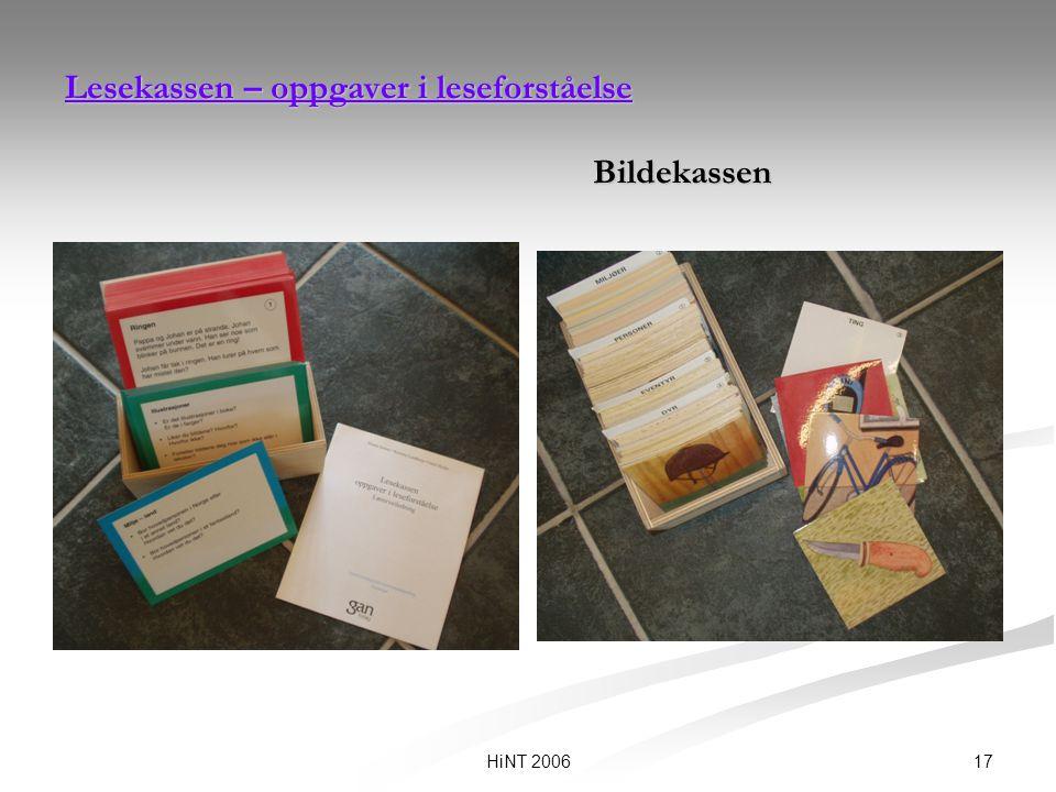 17HiNT 2006 Lesekassen – oppgaver i leseforståelse Lesekassen – oppgaver i leseforståelse Bildekassen Lesekassen – oppgaver i leseforståelse