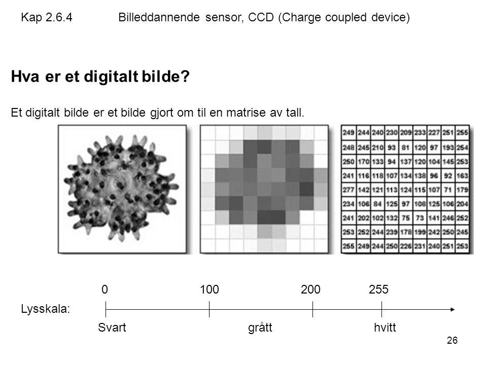 26 Hva er et digitalt bilde? Et digitalt bilde er et bilde gjort om til en matrise av tall. Lysskala: 0 100 200 255 Svart grått hvitt Kap 2.6.4Billedd