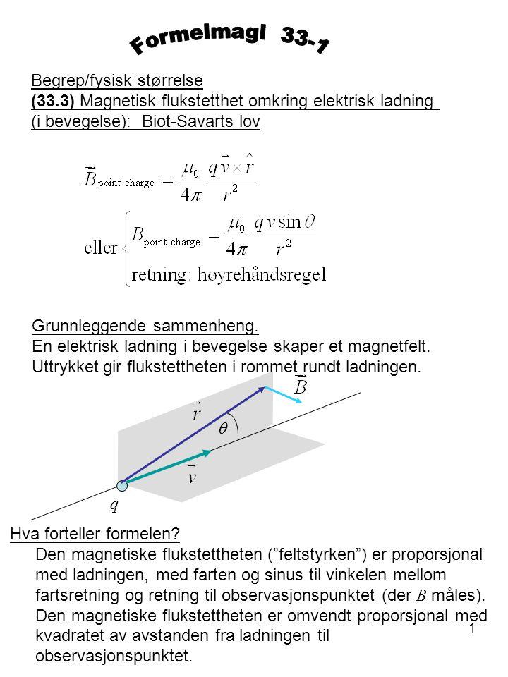 1 Begrep/fysisk størrelse (33.3) Magnetisk flukstetthet omkring elektrisk ladning (i bevegelse): Biot-Savarts lov Grunnleggende sammenheng. En elektri