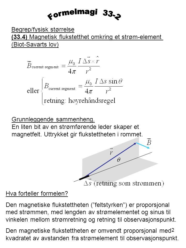 2 Begrep/fysisk størrelse (33.4) Magnetisk flukstetthet omkring et strøm-element (Biot-Savarts lov) Grunnleggende sammenheng. En liten bit av en strøm
