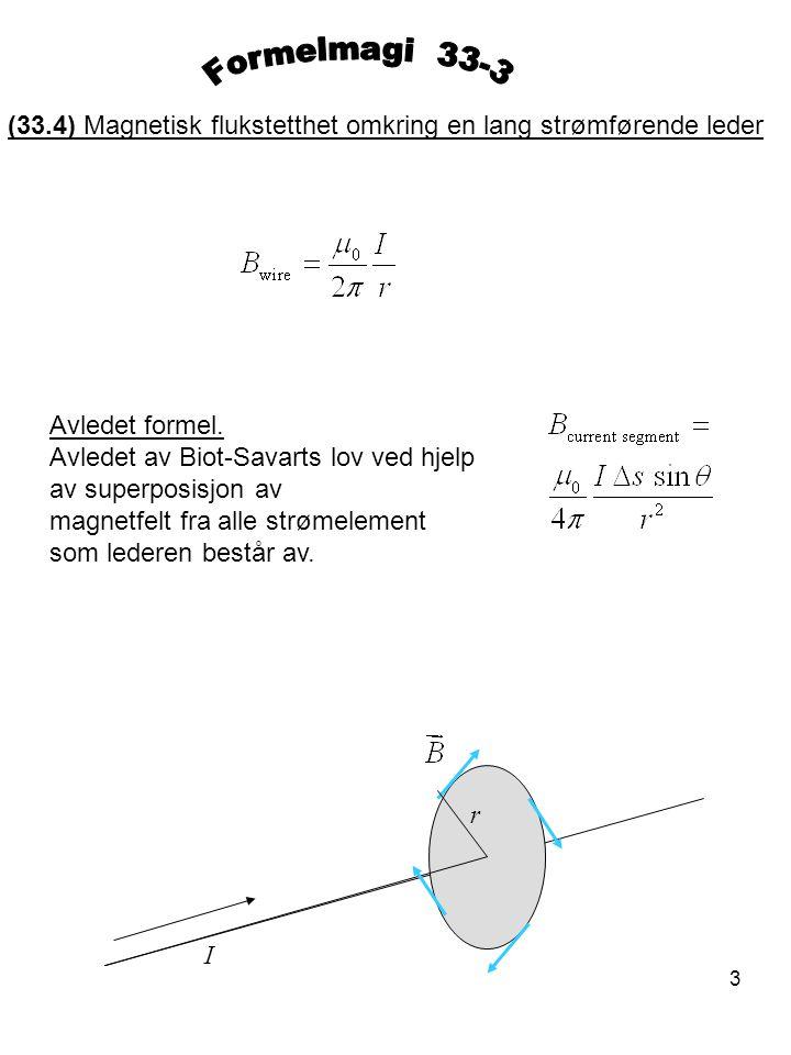 3 (33.4) Magnetisk flukstetthet omkring en lang strømførende leder Avledet formel. Avledet av Biot-Savarts lov ved hjelp av superposisjon av magnetfel